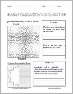 math worksheet : free brain teaser printables four free worksheets that will keep  : Math Brain Teasers Worksheets
