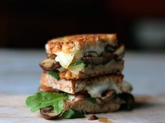 Butter Sauteed Mushrooms and Swiss Grilled Cheese with Arugula