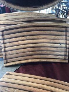 Wine barrel staves stacked into unique cutting boards. We have drip edge on one side, smooth on the other side. Bourbon Barrel Furniture, Wine Barrel Chairs, Drip Edge, Cutting Boards, Wood Design, Jay, Workshop, Woodworking, Ideas