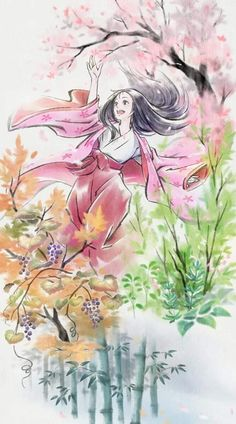 Wonderful draw about this outstanding movie! The Tale of Princess Kaguya by Isao Takaha - Studio Ghibli All Studio Ghibli Movies, Studio Ghibli Art, Chica Anime Manga, Kawaii Anime, Anime Art, Japanese Watercolor, Watercolor Art, Personajes Studio Ghibli, Japanese Tattoo Art