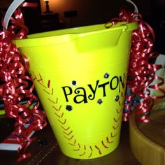 Dowman Dowman Guild Hershberger, trying to make this for me? Softball Goodie Bags, Softball Party, Softball Crafts, Softball Coach, Girls Softball, Softball Decorations, Basketball Uniforms