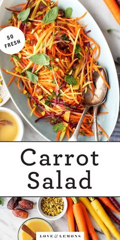 This carrot salad recipe is SO simple and delicious! Made with fresh herbs and a spiced lemon dressing, it's healthy, flavorful, and great for making ahead. Carrot Salad Recipes, Fresh Salad Recipes, Vegan Recipes Plant Based, Lemon Recipes, Delicious Vegan Recipes, Veggie Recipes, New Recipes, Vegetarian Recipes, Cooking Recipes