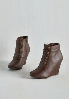Haute Happenings Bootie - Brown, Solid, Work, Statement, Steampunk, Good, Wedge, Ankle, High, Faux Leather