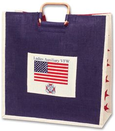 SALE! Nice, roomy Jute Bag with Ladies Auxiliary Emblem and U.S. Flag.  While Quantities Last. Was $11.00, NOW $9.95! vfwstore.org jute bag