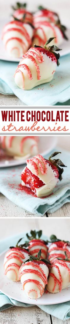 Easy white chocolate dipped strawberries - an simple and elegant way to turn your summer berries into an amazing dessert! Strawberry Dip, Strawberry Recipes, Fruit Recipes, Sweet Recipes, Dessert Recipes, White Chocolate Covered Strawberries, Chocolate Dipped Strawberries, Fun Desserts, Delicious Desserts