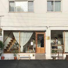 pin: @interfering Cafe Exterior, Interior Exterior, Exterior Design, Cafe Interior Design, Cafe Design, Korean Cafe, Shop Facade, Coffee Shop Design, Cafe Shop