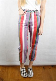 Vintage+Rainbow+Striped+Mom+Jeans