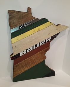 Minnesota State of Hockey Art Reclaimed Wood by OldWoodNewArt