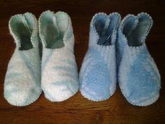 Heerlijke warme wollen sloffen van oude deken