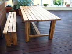 Tömör tölgyfa kerti asztal
