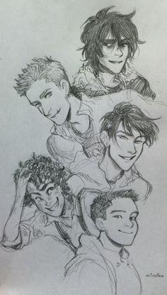 Heroes of Olympus boys by minuiko. Nico is smiling! Hooray! NICO IS SMILING!!!!!!!!