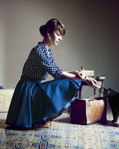 Indigo blue with white checkers for the Heinui Fall 2013 Collection