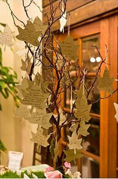After the special event, take each tag and place it in a scrapbook with mini envelopes. The wedding wish tree is a creative alternative to the traditional guest book that most couples have.