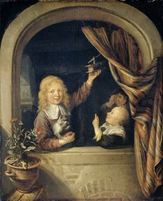 Domenicus van Tol: Kinderen met een muizenval in een stenen boognis. ca. 1650-1660. Rijksmuseum, Amsterdam. Naar Gerard Dou: Keukentafereel met een vrouw en een jongen met een muizenval. ca. 1650.