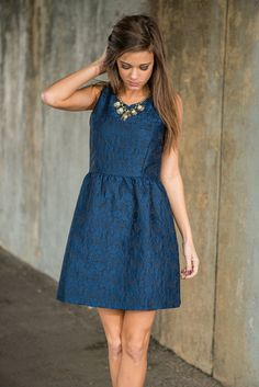 From Across The Room Dress, Navy