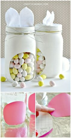 Make Your Own Bunny Candy Jars Tutorial - 130 Easy Craft Ideas Using Mason Jars for Spring & Summer - DIY & Crafts