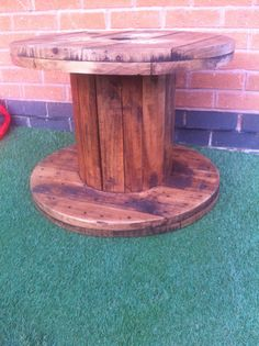 Cable drum- cleaned sanded and dark oak wax.   Take a look at face book - Waxed wood