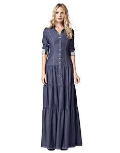5f86b39c09a Denim Maxi Dress - Long Sleeved Dress   Urban Chic Collection ...