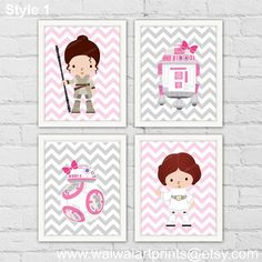 Princess Leia Rey Star Wars Girl Nursery Decor. by waiwaiartprints