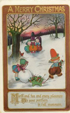 """1929 Christmas Postcard by Mabel Lucie Attwell .... Title: """"A Merry Christmas .... Mirth and Fun and Every Pleasure be your Portion in Full Measure"""" ~ Tuck DB Postcards ...."""