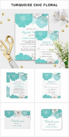 Turquoise Green Chic Floral Wedding Invitation Suite | Garden Wedding, Limpet Shell, Aqua, Island Paradise Blue