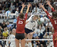 The volleyball spike is the way for a hitter to send a ball over the net past the block into the opposing court with force in an effort to score a point. (Penn State News)