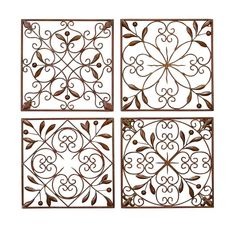 """AmazonSmile - Deco 79 Metal Wall Decor (Set of 4), 14 by 14"""" - Wall Sculptures"""