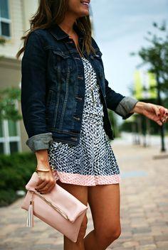 romper + denim jacket