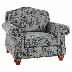 "Dusty blue paisley upholstery and nailhead trim.  Dimensions: 36"" H x 41"" W x 40"" D Cleaning: Dry clean or spot clean only"
