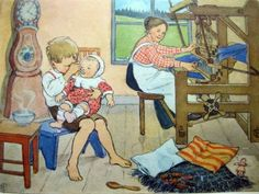 I feed my baby sister while Mama weaves. Pelle's New Coat, Elsa Beskow.