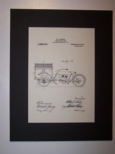 Harley Three Wheel Truck 1914 Patent Drawing Motorcycle Harley Davidson