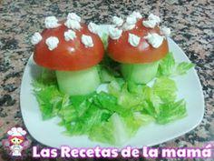 Las recetas de la mamá te aconseja que elabores esta nutritiva ensalada con forma de setas. Esta receta de ensalada con forma de setas está pensada para que los niños al mismo tiempo que comen verduras se diviertan comiendo.