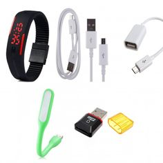 Combo LED Wrist Band / Watch, Data cum Sync Cable, OTG Cable, Micro SD Card Reader 2.0, USB LED Light for Mobile/Laptop   SaanMI.com http://www.saanmi.com/shop/combo-deal/super5/