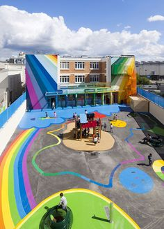 Ecole Maternelle Pajol is a kindergarten in Rue Pajol in Paris, by French architecture agency Palatre & Leclère Playground Games, Playground Design, Outdoor Playground, Architecture Agency, School Architecture, French Architecture, I School, Primary School, Elementary Schools