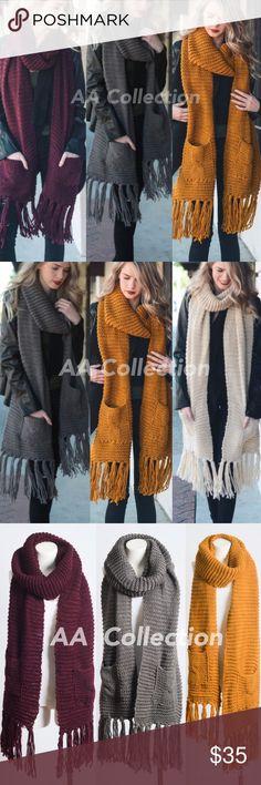Charcoal Chunky knit pocket scarf wrap  oversized Charcoal gray knit Chunky Oversized Two Pocket Tassel fringe Scarf wrap. 100% Acrylic. Size 110x13 Accessories Scarves & Wraps