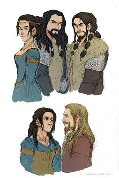 thorin, frerin and dis, sons and daughter of thrain + Dis' husband