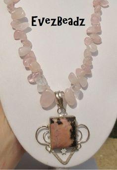 Pink Rose Quartz and Rhodonite Sterling Pendant Necklace | @Evez Beadz - Jewelry on ArtFire #bmecountdown