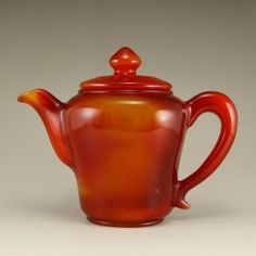 Chinese Red Agate Teapot w Certificate