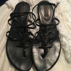 Authentic Louis Vuitton Black patten leather Louis Vuitton Shoes Sandals
