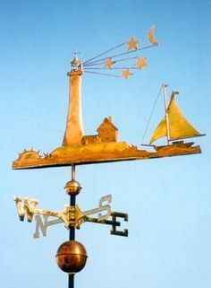 Lighthouse with Sailboat weather vane photo. This custom, handcrafted copper & brass weathervane is available in 2 sizes. West Coast Weather Vanes specializes in unique weathervanes for residential, commercial, & public applications. Weather Vanes, Weather Forecast, Storefront Signs, Blowin' In The Wind, Lightning Rod, Wind Sculptures, Wind Spinners, Beach Cottages, Shop Signs