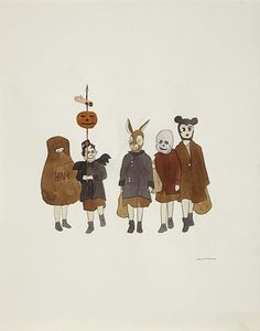 Marcel Dzama - Halloween kids (Fine artist with illustrative style) Illustrations, Illustration Art, Scary Art, Love Painting, Halloween Kids, Marcel, Cool Artwork, Art Drawings, Contemporary Art