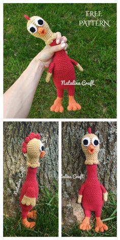 Easter Crochet, Cute Crochet, Crochet Crafts, Crochet Projects, Metal Chicken, Chicken Toys, Chicken Pattern, Crochet Chicken, Crocheted Lace