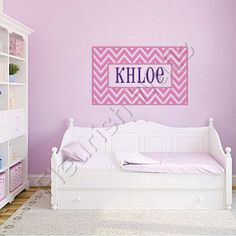 Name Wall Decal - Cute Chevron Border Personalized Vinyl Name Decal For Baby Girl Or Boy Nursery Toddler Or Teen Bedroom 22H x 36W GN001
