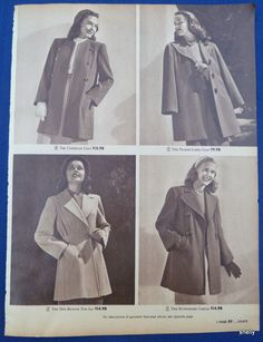 Womens Clothing Spring Summer Coats Suits Original Vintage 1940s Sears Ads