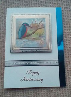 Wedding Anniversary card. Base card covered with textured card. Mirror board margin added. Printed banner added. Foiled topper attached with sticky pads. Peel off sentiment added. Sent to my brother and sister-in-law