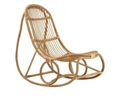 Nanna Ditzel's continued to design and made particular, This beautiful rocking chair Nanny. The rocking chair Nanny was one of the first chairs designed with the idea of a chair without legs. Rocking chair comes in two colours Natural or matt black lacque Danish Furniture, Rattan Furniture, Chair Design, Furniture Design, Rattan Rocking Chair, Sheepskin Throw, Danish Design, Timeless Design, Modern Design