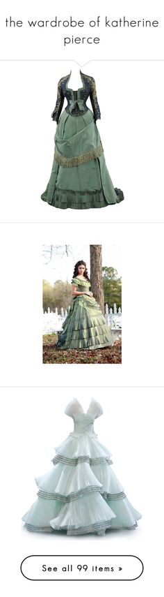 """""""the wardrobe of katherine pierce"""" by margarita25 ❤ liked on Polyvore featuring nina dobrev, vampire diaries, people, the vampire diaries, tvd, dresses, gowns, victorian, vintage and green"""