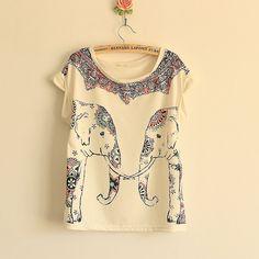 ladies clothes elephant print | New Women European Fashion Elephant Print Cotton Short Sleeve T Shirt ...