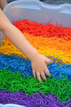 BEAUTIFUL Rainbow sensory play - Colorful squishy FUN! How to dye noodles #dye