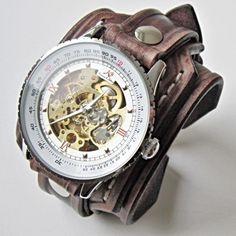 Vintage Men's Leather Cuff Watch Bracelet Wristband Handmade Brown, Bracelet Watch, Mens Gift